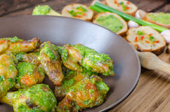 Roasted chicken wings with Chimichurri Royalty Free Stock Photography