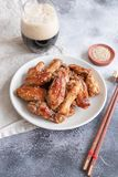 Roasted chicken wings. Home made roasted chicken wings stock images