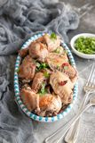 Roasted chicken wings. Home made roasted chicken wings royalty free stock images