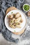 Roasted chicken wings. Home made roasted chicken wings royalty free stock photography