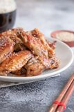 Roasted chicken wings. Home made roasted chicken wings royalty free stock image