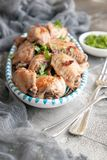 Roasted chicken wings. Home made roasted chicken wings royalty free stock photo