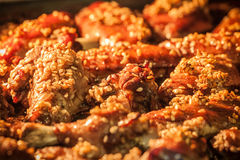 Roasted chicken wings with sesame seeds Royalty Free Stock Image