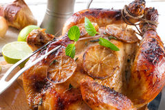 Roasted chickens. A fresh and tasty roasted chickens royalty free stock image
