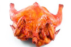 Roasted chiken. On white background Royalty Free Stock Photo