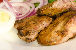 Roasted chiken liver with vegetables Royalty Free Stock Photography