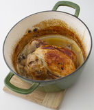 Roasted chiken in a pot Stock Photos