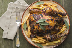 Roasted chiken with sage Royalty Free Stock Images
