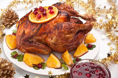 Roasted christmas chicken Royalty Free Stock Images
