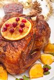 Roasted christmas chicken Royalty Free Stock Photos