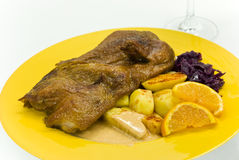 Roasted christmas duck with decoration Stock Image