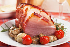 Roasted christmas ham Royalty Free Stock Photo