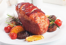 Roasted christmas ham Stock Photography