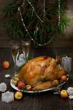 Roasted Christmas Turkey with Grab Apples royalty free stock photos