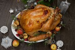 Roasted Christmas Turkey with Grab Apples stock photos
