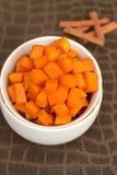Roasted cinnamon pumpkin. Homemade roasted cubed cinnamon pumpkin Stock Image