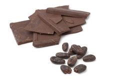 Roasted cocoa beans and chocolate Stock Photography