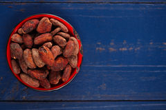 Roasted cocoa chocolate beans on dark blue wood background Stock Images