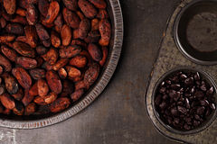 Roasted cocoa chocolate beans in Vintage tin and chocolate in ba Stock Images