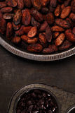 Roasted cocoa chocolate beans in Vintage tin and chocolate in ba Royalty Free Stock Photography