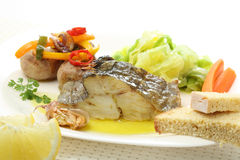 Roasted cod fish dish isolated Royalty Free Stock Photos