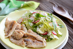 Roasted cod with fresh radish, lettuce and arugula salad. A plate of healthy roasted cod with fresh radish, lettuce and arugula salad on a wooden background Royalty Free Stock Photography