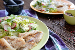 Roasted cod with fresh radish, lettuce and arugula salad. A plate of healthy roasted cod with fresh radish, lettuce and arugula salad on a wooden background Stock Images
