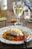 Roasted cod with vegetables Royalty Free Stock Image