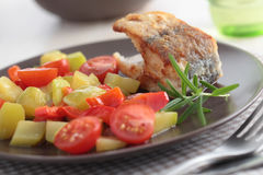 Roasted cod with vegetables Royalty Free Stock Images