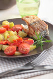 Roasted cod with vegetables Stock Photography