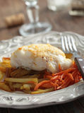 Roasted cod with vegetables Stock Photo