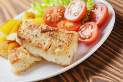Roasted codfish fillet with vegetables Stock Photography