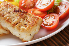 Roasted codfish fillet with vegetables Royalty Free Stock Photo