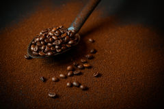 Roasted coffee beans and ground coffee stock photography