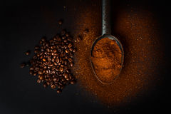roasted coffee beans and ground coffee Stock Images