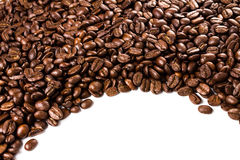 Roasted Coffee Bean background isolated on white background. Clo Stock Photos