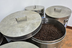 Roasted coffee bean in bucket Royalty Free Stock Images