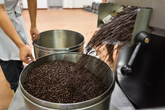 Roasted coffee bean in bucket Stock Images