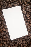 Roasted coffee bean and business card Royalty Free Stock Photos