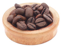 Roasted coffee bean in a wooden bowl Stock Photo
