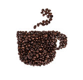Roasted coffee beans arranged as cup Royalty Free Stock Photography