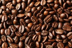 Roasted coffee beans as background. Top view royalty free stock photos