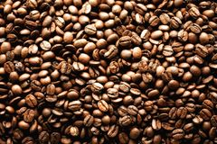 Roasted coffee beans backgound, copy space, top view. Cappuccino, dark espresso, aroma black caffeine drink, ingredient. For coffee beverage Royalty Free Stock Photography
