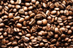 Roasted coffee beans backgound, copy space, top view. Cappuccino, dark espresso, aroma black caffeine drink, ingredient. For coffee beverage Royalty Free Stock Photos
