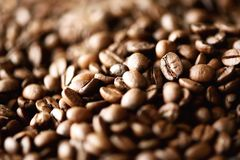 Roasted coffee beans backgound, copy space, top view. Cappuccino, dark espresso, aroma black caffeine drink, ingredient. For coffee beverage. Macro shoot Royalty Free Stock Images