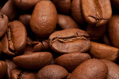 Roasted coffee-beans background. Roasted brown coffee-beans  background macro Royalty Free Stock Images