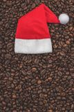 Roasted coffee beans. Background, close-up view. Happy New Year and Christmas. royalty free stock photography