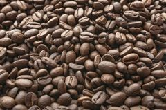 Roasted coffee beans background. Coffee beans concept. Top view royalty free stock images
