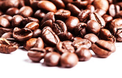 Roasted Coffee Beans background texture isolated on white backgr Royalty Free Stock Images