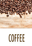 Roasted Coffee Beans background texture on wooden board frame is Stock Photo